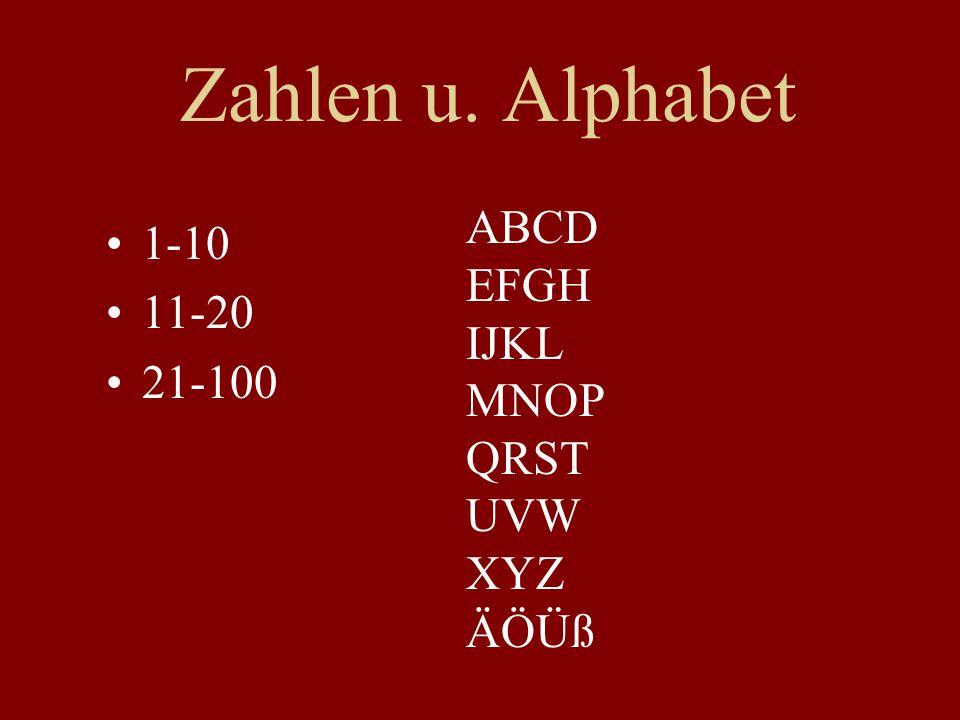 Zahlen u. Alphabet ABCD 1-10 EFGH 11-20 IJKL 21-100 MNOP QRST UVW