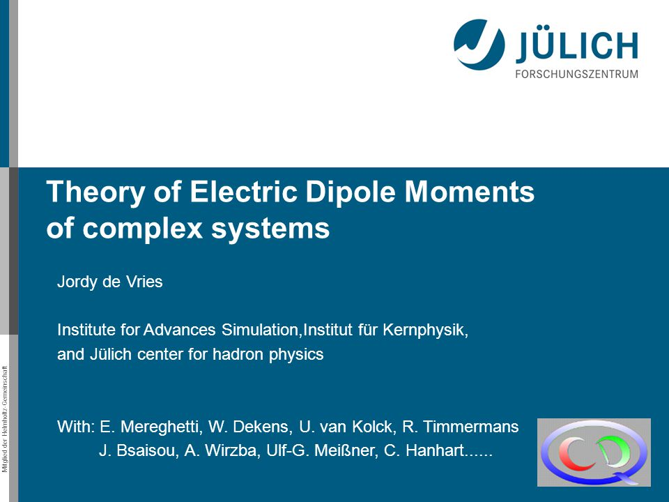 Theory of Electric Dipole Moments of complex systems