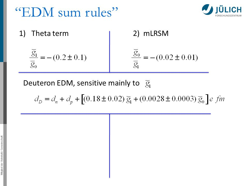 EDM sum rules 1) Theta term 2) mLRSM