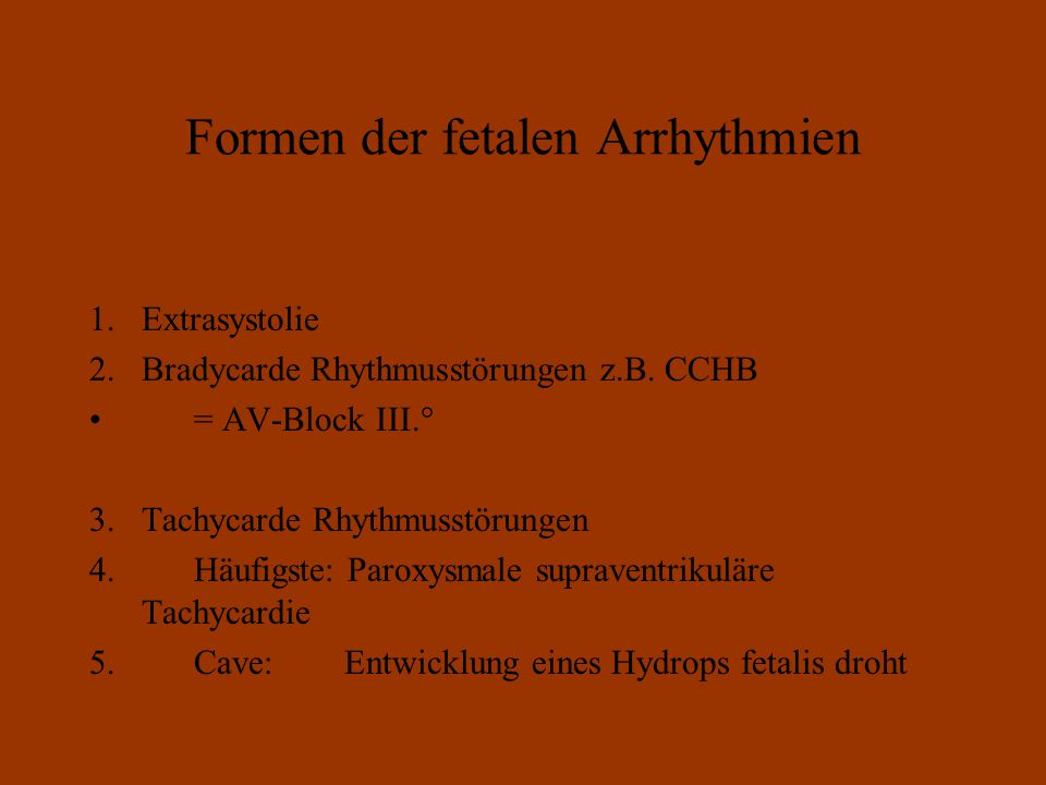 Formen der fetalen Arrhythmien