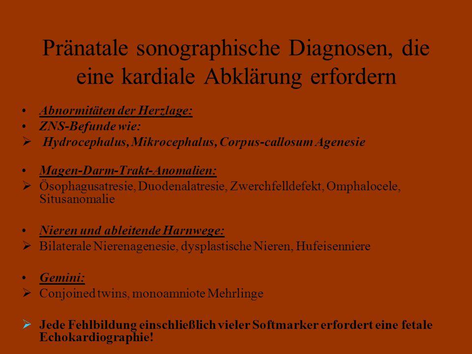 Pränatale sonographische Diagnosen, die eine kardiale Abklärung erfordern