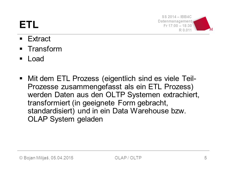 ETL Extract Transform Load