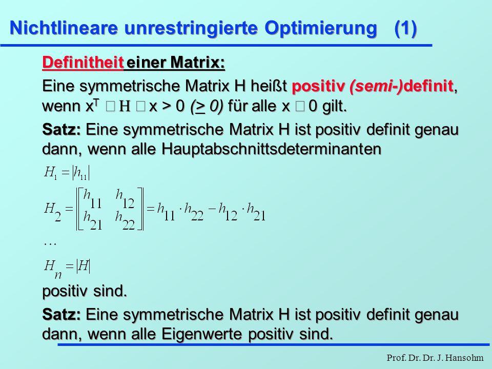Nichtlineare unrestringierte Optimierung (1)