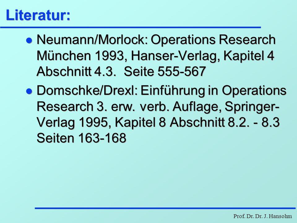 Literatur: Neumann/Morlock: Operations Research München 1993, Hanser-Verlag, Kapitel 4 Abschnitt 4.3. Seite 555-567.