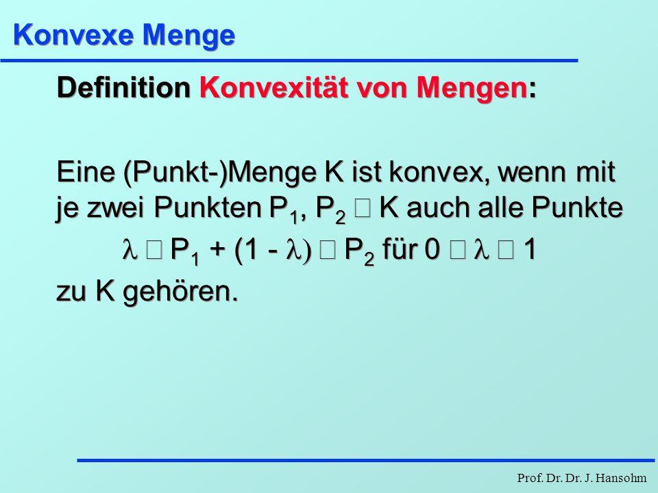 Konvexe Menge Definition Konvexität von Mengen: Eine (Punkt-)Menge K ist konvex, wenn mit je zwei Punkten P1, P2 Î K auch alle Punkte.
