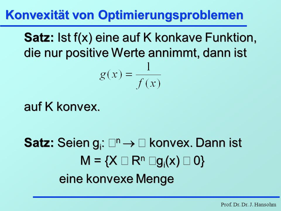 Konvexität von Optimierungsproblemen