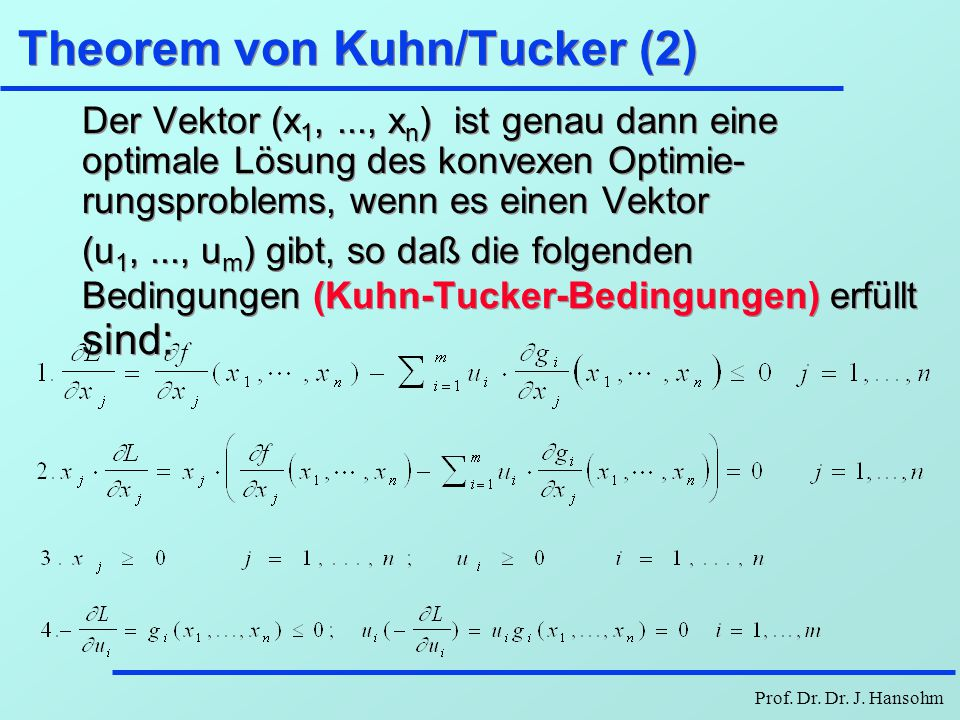 Theorem von Kuhn/Tucker (2)