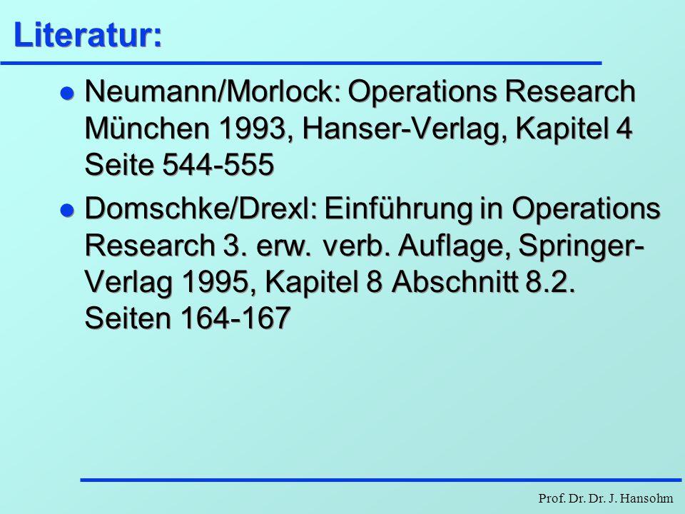 Literatur: Neumann/Morlock: Operations Research München 1993, Hanser-Verlag, Kapitel 4 Seite 544-555.