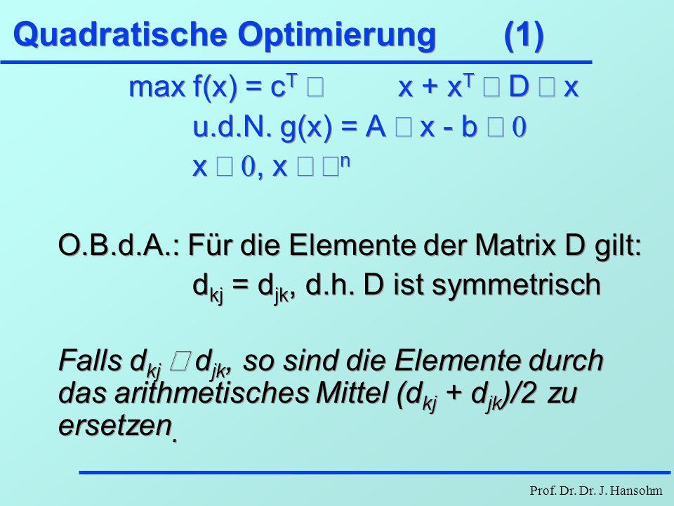 Quadratische Optimierung (1)