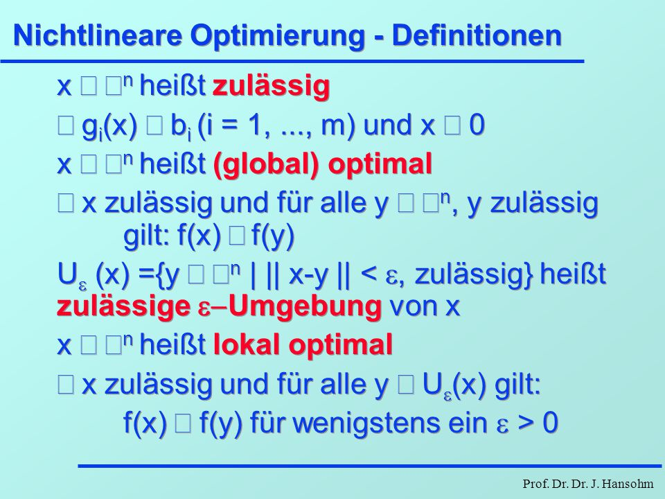Nichtlineare Optimierung - Definitionen