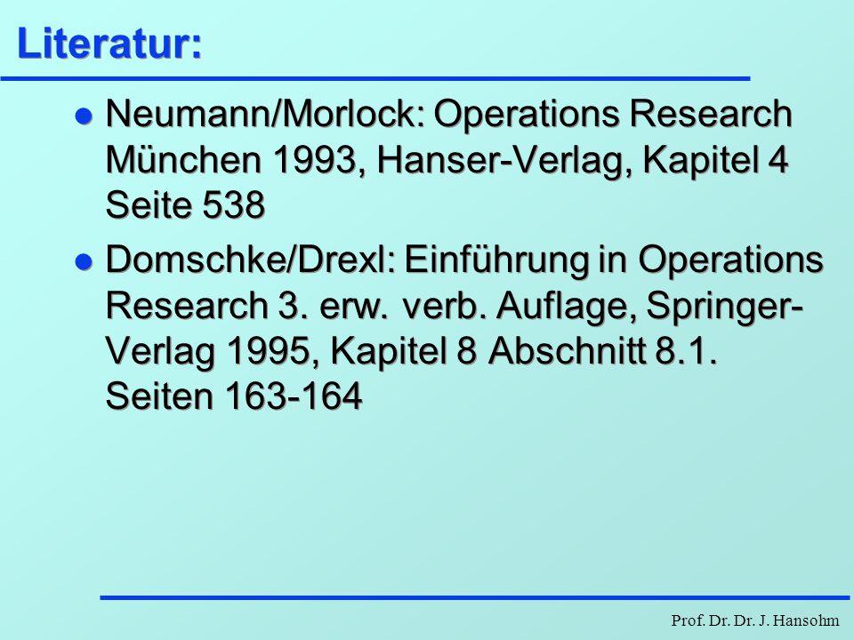 Literatur: Neumann/Morlock: Operations Research München 1993, Hanser-Verlag, Kapitel 4 Seite 538.