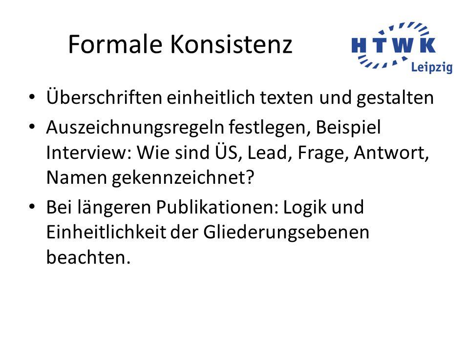 Formale Konsistenz Überschriften einheitlich texten und gestalten