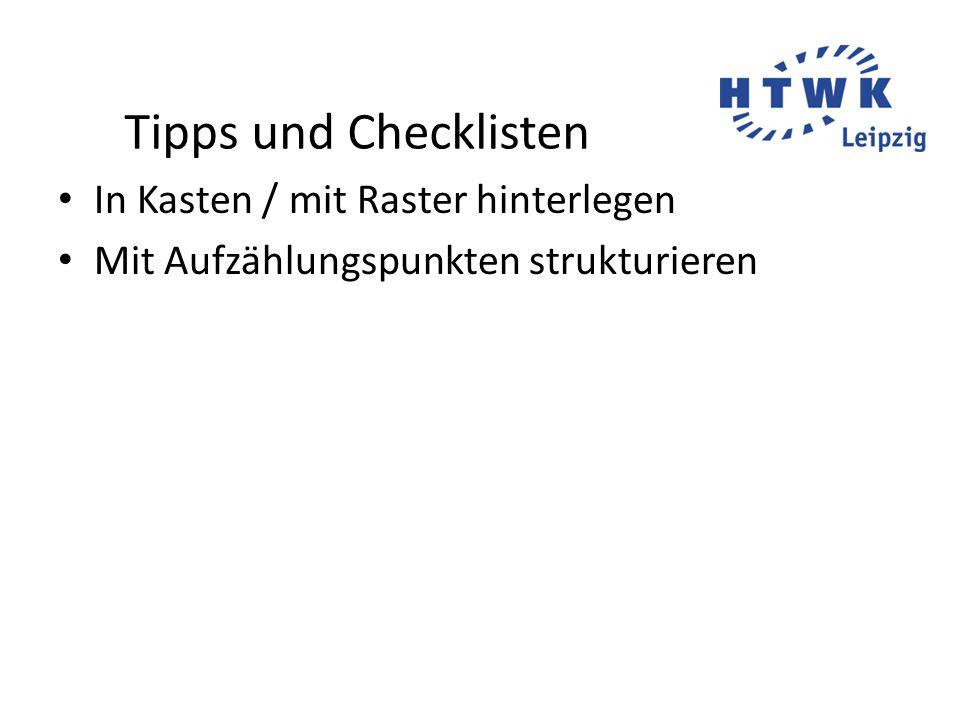 Tipps und Checklisten In Kasten / mit Raster hinterlegen