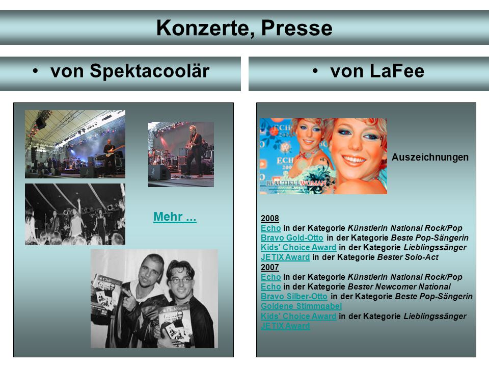 Konzerte, Presse von Spektacoolär von LaFee Mehr ... Auszeichnungen