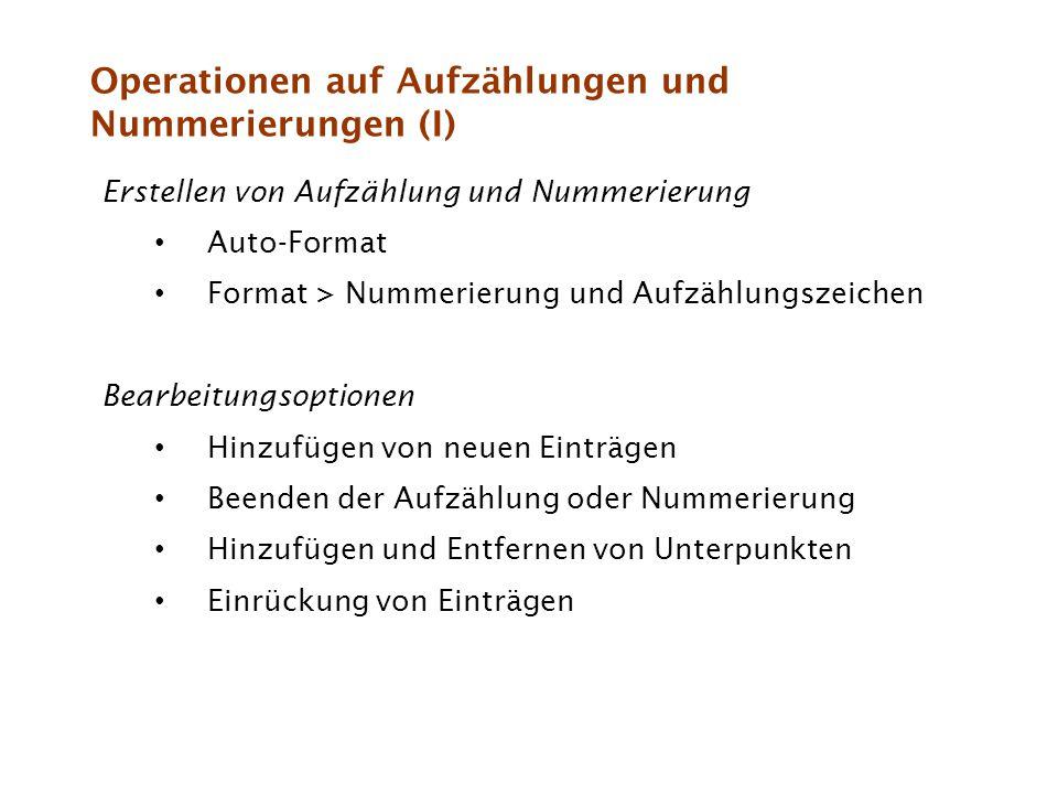 Operationen auf Aufzählungen und Nummerierungen (I)