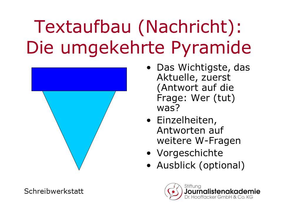 Textaufbau (Nachricht): Die umgekehrte Pyramide