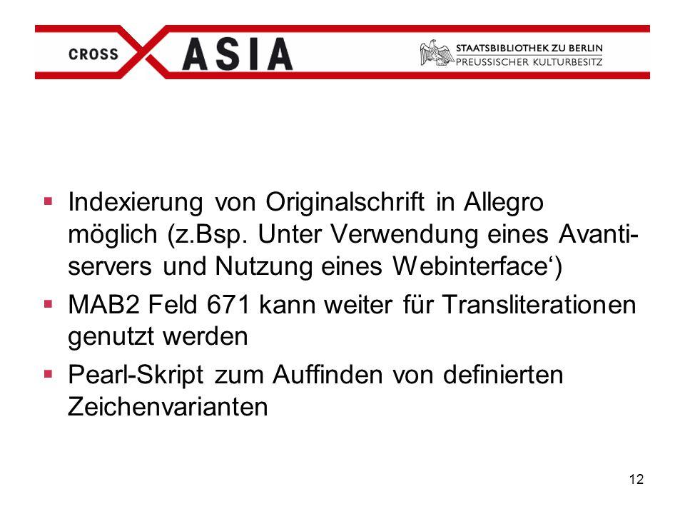 Indexierung von Originalschrift in Allegro möglich (z. Bsp