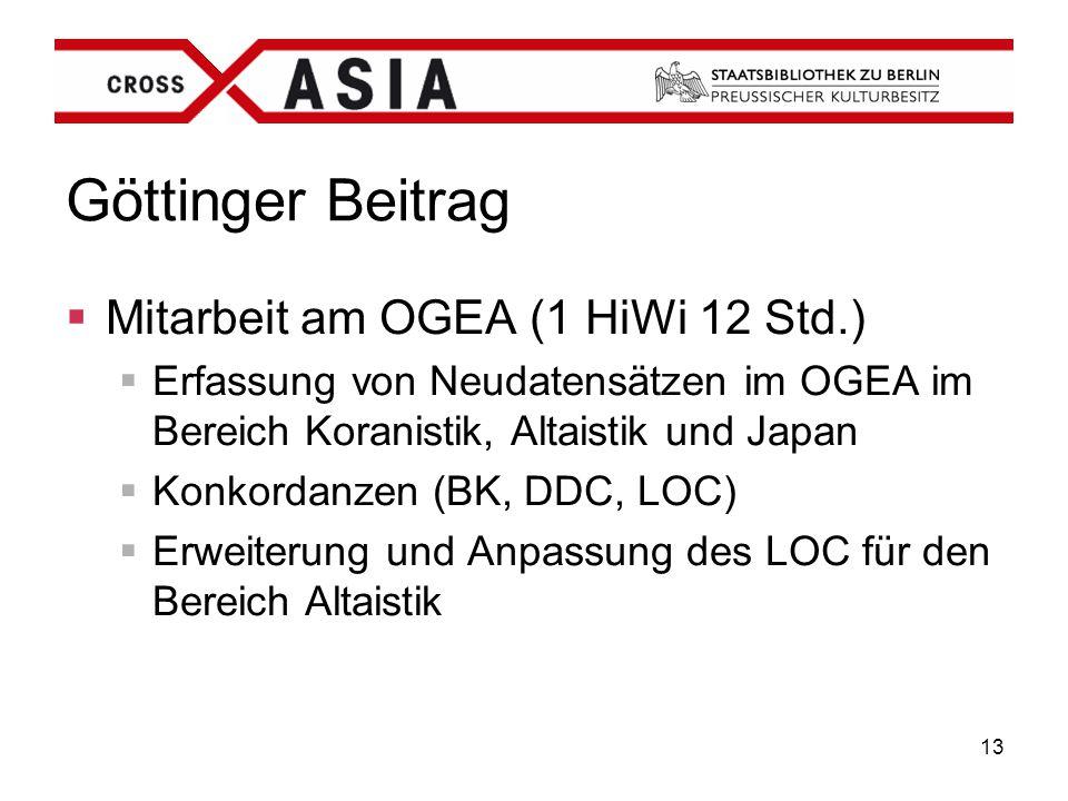 Göttinger Beitrag Mitarbeit am OGEA (1 HiWi 12 Std.)