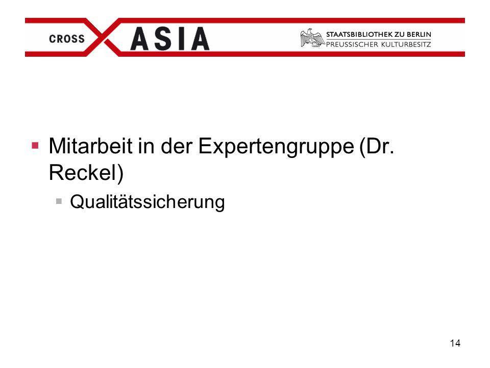 Mitarbeit in der Expertengruppe (Dr. Reckel)