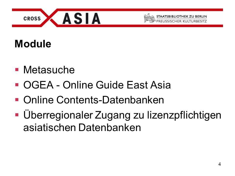 Module Metasuche. OGEA - Online Guide East Asia.