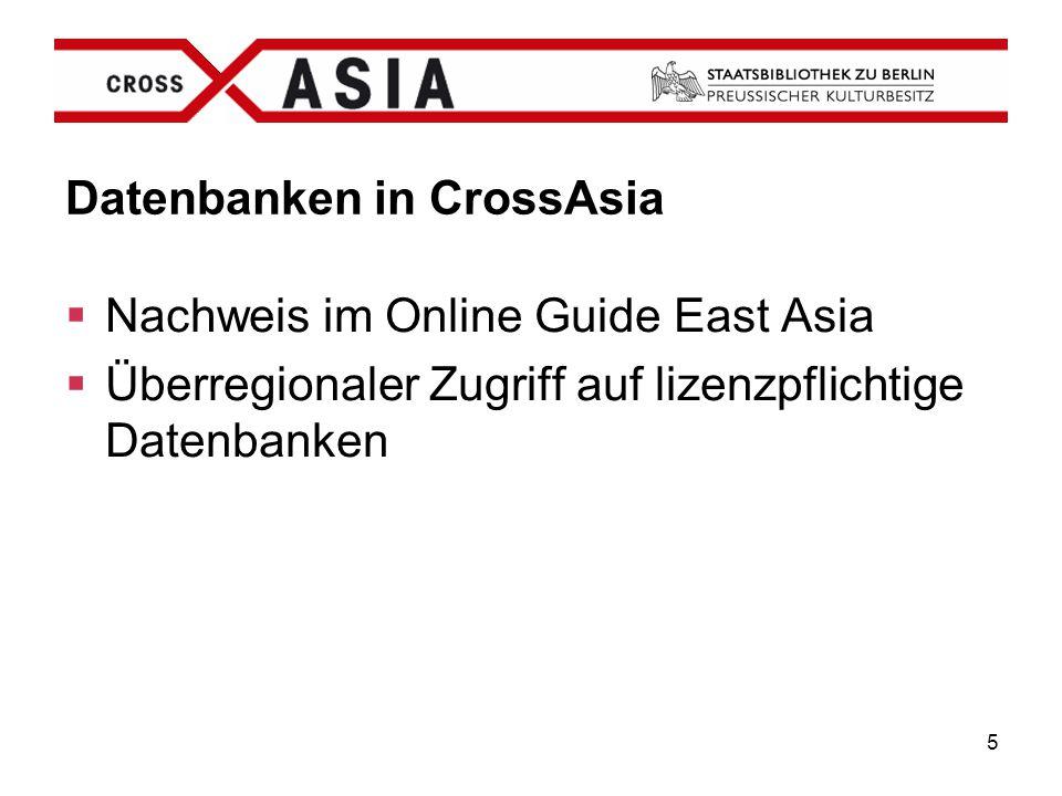Datenbanken in CrossAsia
