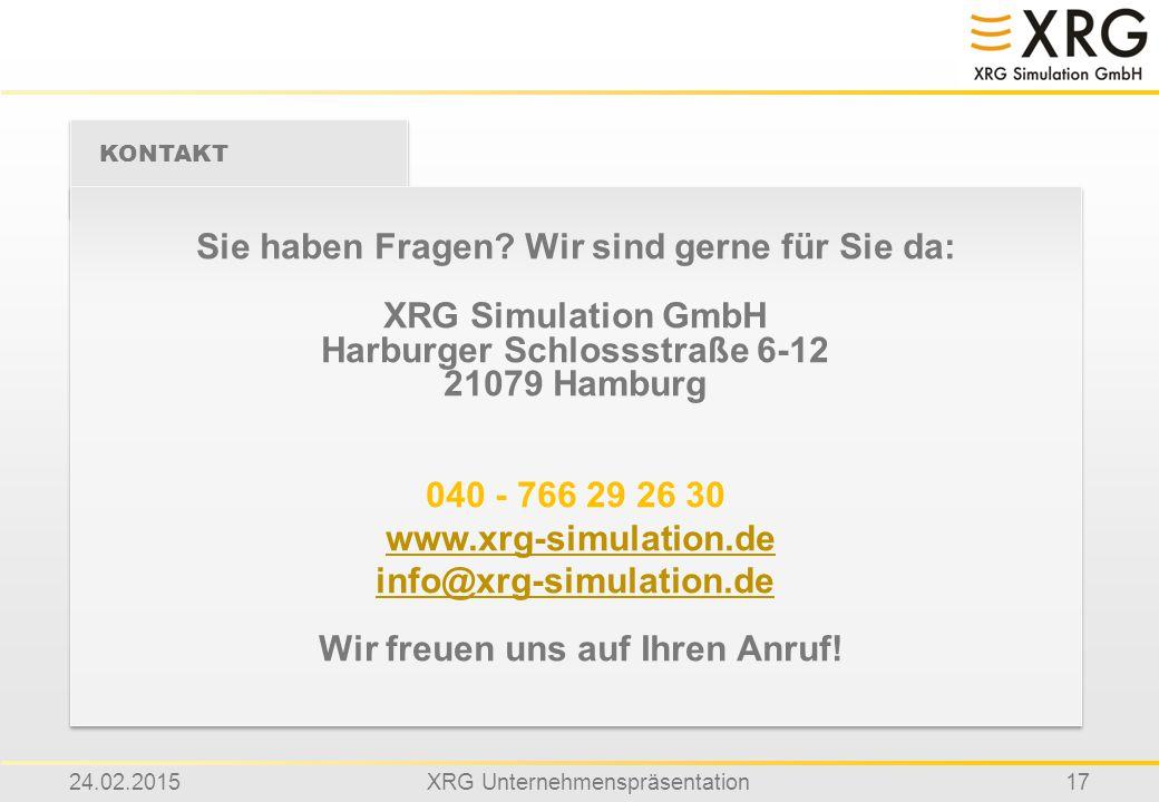 Sie haben Fragen Wir sind gerne für Sie da: XRG Simulation GmbH