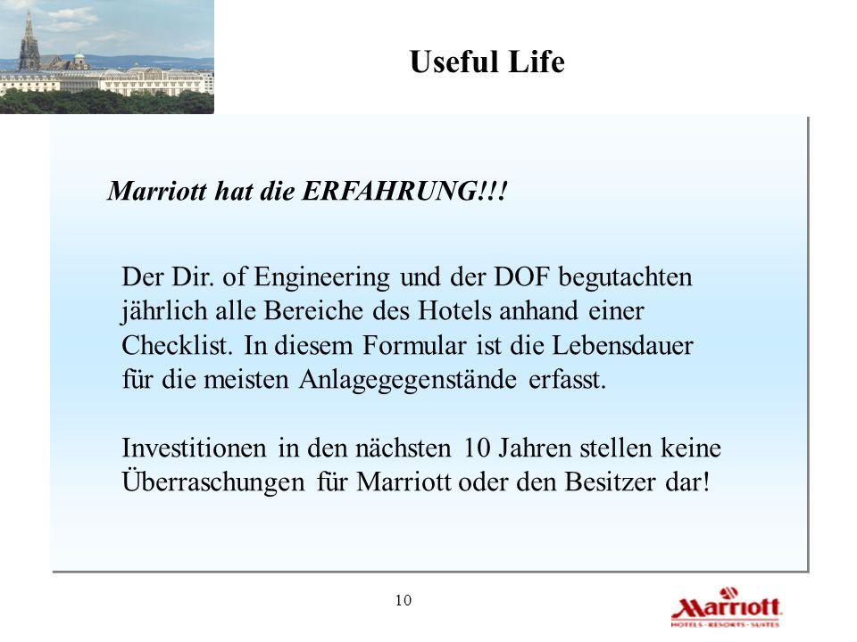 Useful Life Marriott hat die ERFAHRUNG!!!