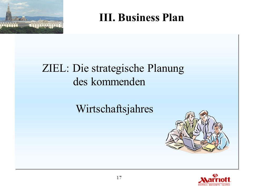 III. Business Plan ZIEL: Die strategische Planung des kommenden Wirtschaftsjahres