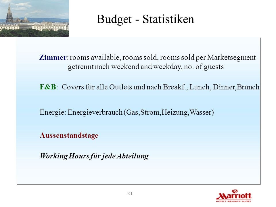 Budget - Statistiken Zimmer: rooms available, rooms sold, rooms sold per Marketsegment. getrennt nach weekend and weekday, no. of guests.