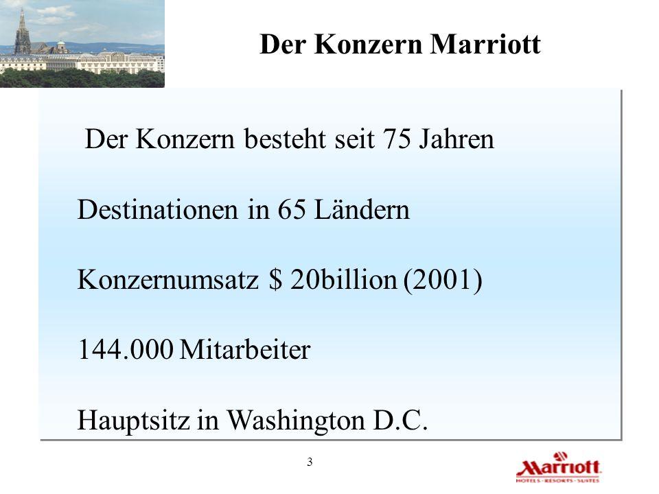Der Konzern Marriott Der Konzern besteht seit 75 Jahren. Destinationen in 65 Ländern. Konzernumsatz $ 20billion (2001)