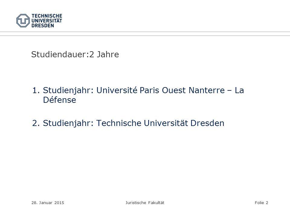 Studienjahr: Université Paris Ouest Nanterre – La Défense