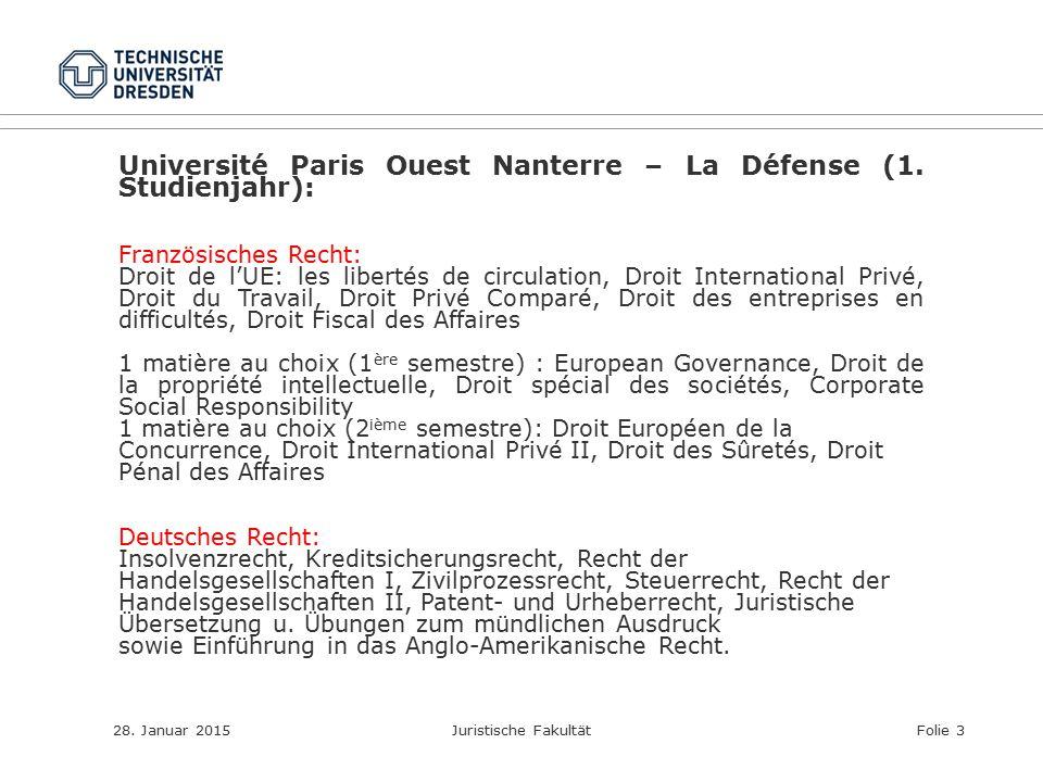 Université Paris Ouest Nanterre – La Défense (1. Studienjahr):