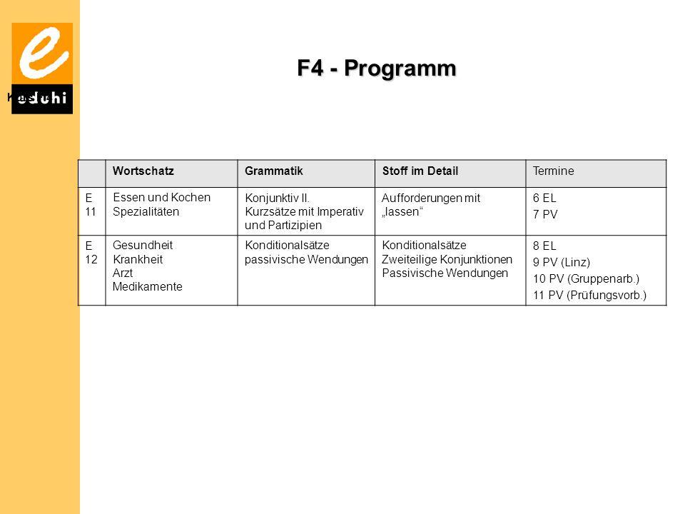 F4 - Programm Kurs F 4 Wortschatz Grammatik Stoff im Detail Termine