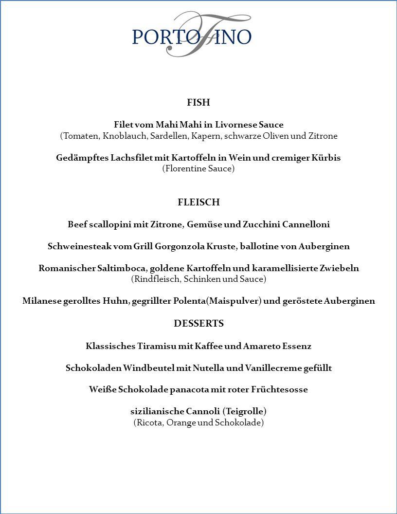 FISH FLEISCH DESSERTS Filet vom Mahi Mahi in Livornese Sauce