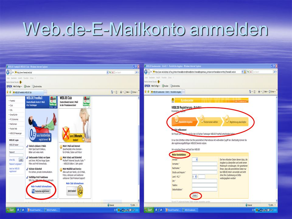 Web.de-E-Mailkonto anmelden