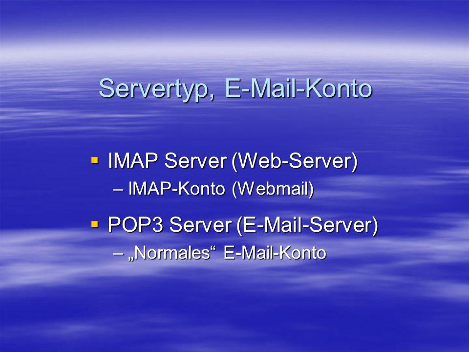 Servertyp, E-Mail-Konto