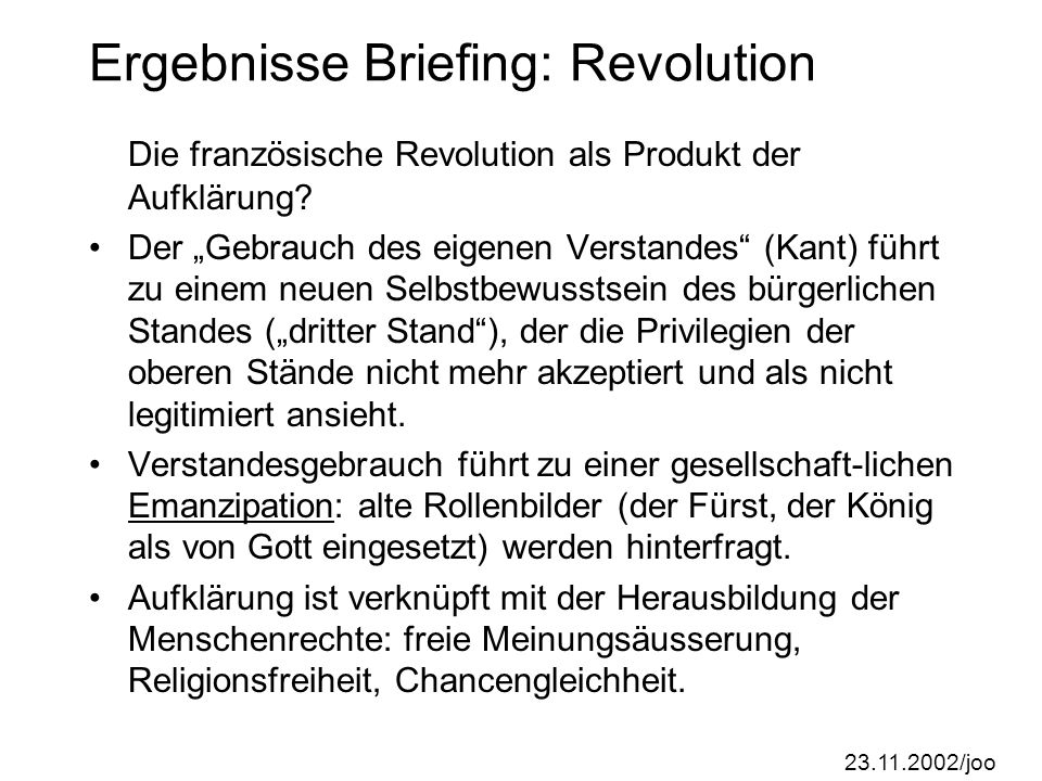 Ergebnisse Briefing: Revolution