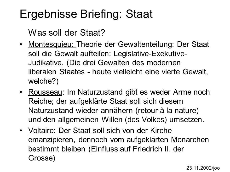 Ergebnisse Briefing: Staat