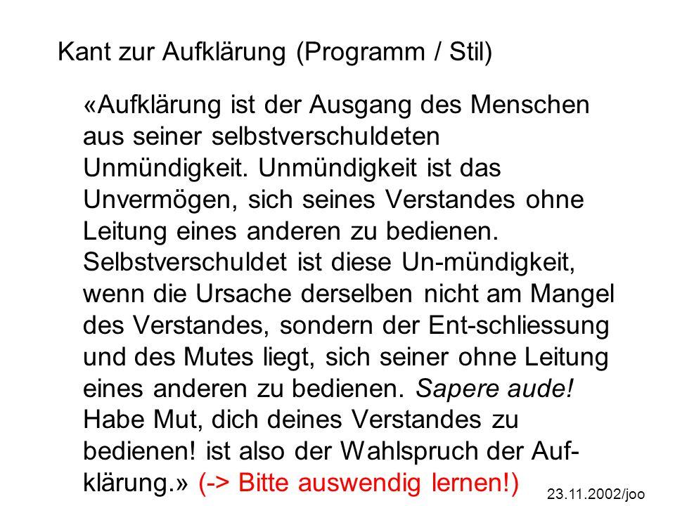 Kant zur Aufklärung (Programm / Stil)