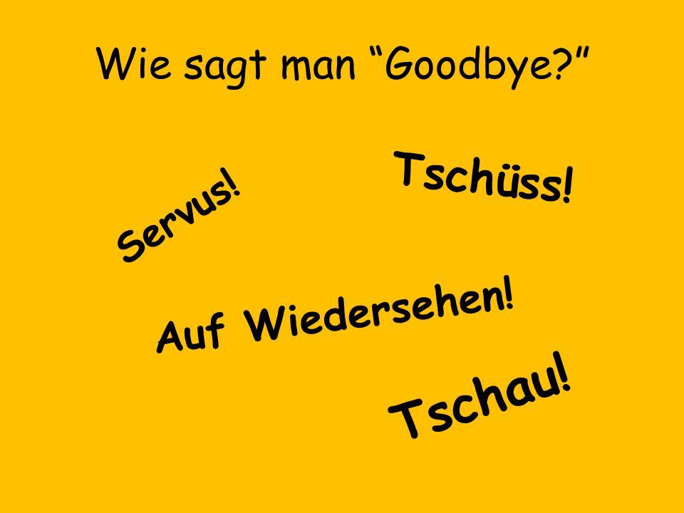 Wie sagt man Goodbye Tschüss! Servus! Auf Wiedersehen! Tschau!