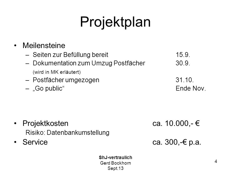 Projektplan Meilensteine Projektkosten ca. 10.000,- €