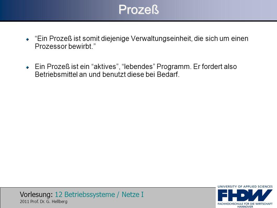 Prozeß Ein Prozeß ist somit diejenige Verwaltungseinheit, die sich um einen Prozessor bewirbt.