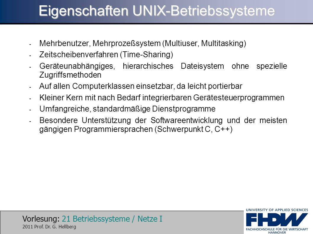 Eigenschaften UNIX-Betriebssysteme