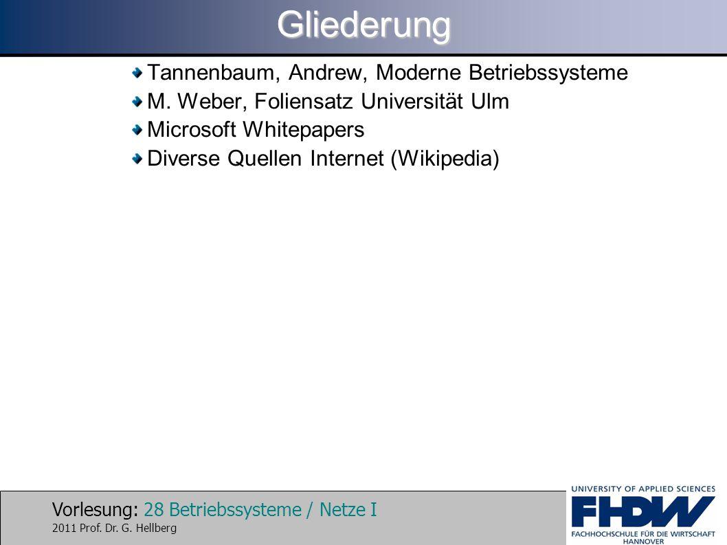 Gliederung Tannenbaum, Andrew, Moderne Betriebssysteme