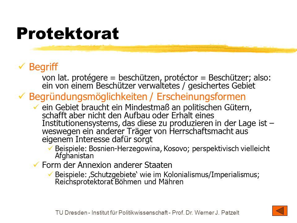 Protektorat Begriff Begründungsmöglichkeiten / Erscheinungsformen
