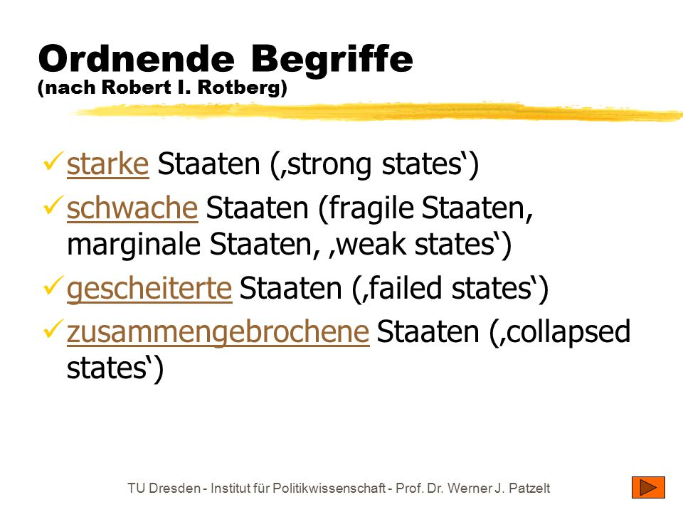 Ordnende Begriffe (nach Robert I. Rotberg)