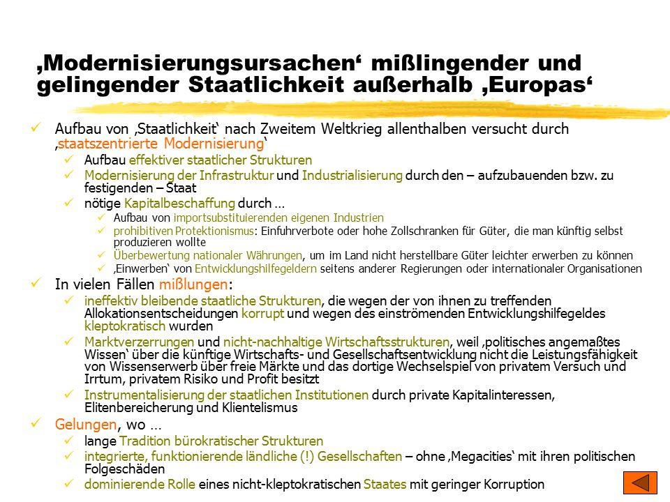 'Modernisierungsursachen' mißlingender und gelingender Staatlichkeit außerhalb 'Europas'