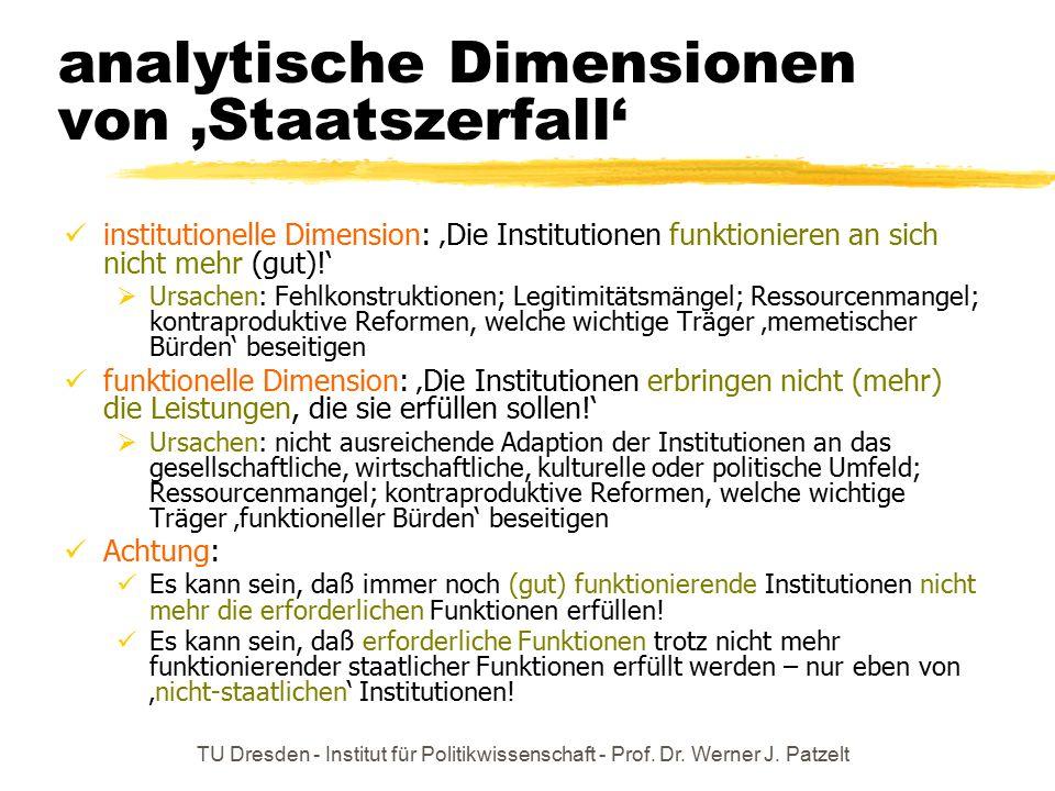 analytische Dimensionen von 'Staatszerfall'