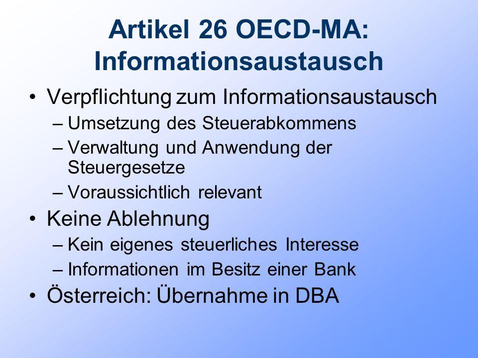 Artikel 26 OECD-MA: Informationsaustausch