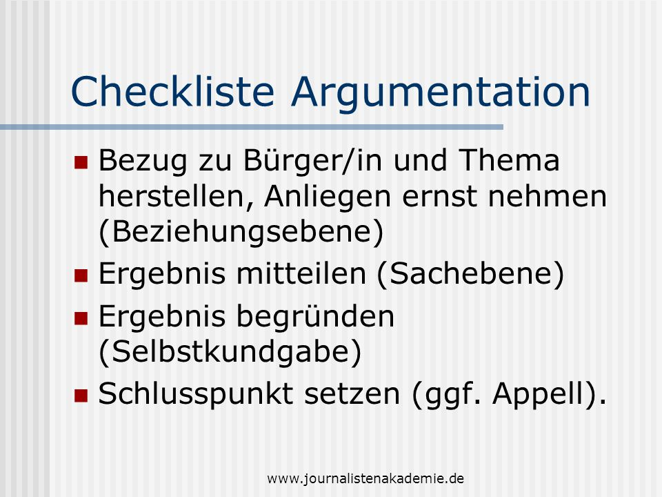 Checkliste Argumentation